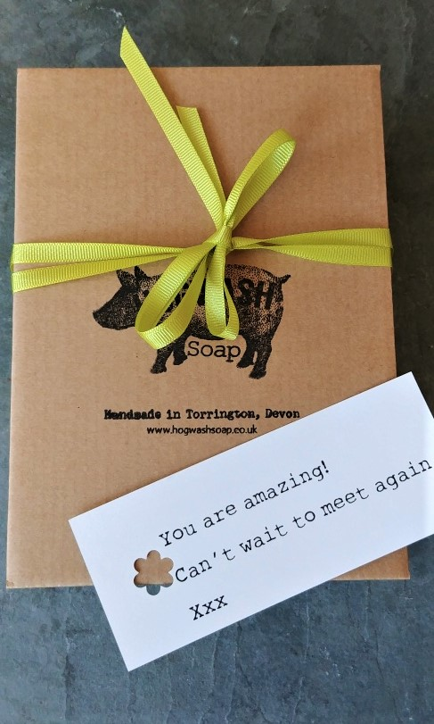 Lime Basil and Mandarin Gift Box Lid ribbon and personal message example