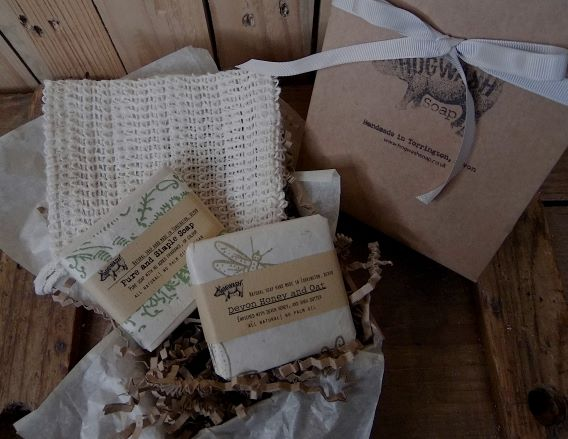 fragrance free. two large soaps and a sisal soap saver bag
