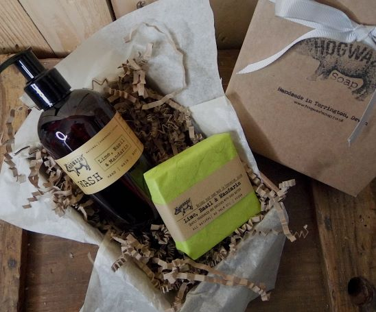 Lime Basil and mandarin gift box with large soap and large Wash